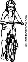 女, 取得, 抽象的, bicicle, イラスト, 乗車