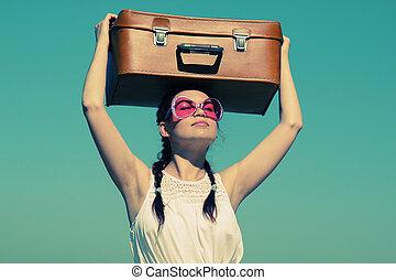 女, 古い, 写真, イメージ, 浜。, スーツケース, style.