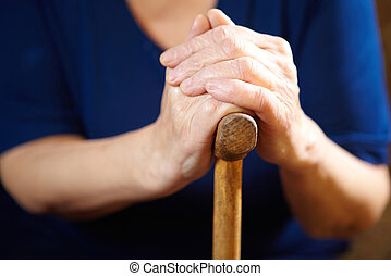 女, 古い, 杖, 手