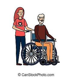 女, 古い, 車椅子, 若い, ボランティア, 人