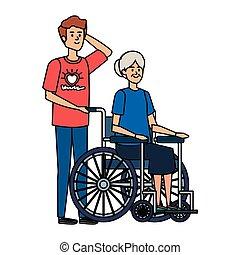 女, 古い, 車椅子, 若者, ボランティア