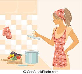 女, 台所
