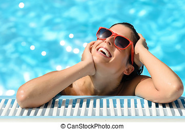 女, 喜び, そして, 幸福, の, 暑い, 夏, 中に, プール, リゾート