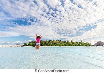 女, 喜び, 跳躍, 海洋, トロピカル, モルディブ, 島, 幸せ