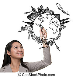女, 図画, ∥, 夢, 旅行, 世界 中, 中に, a, whiteboard
