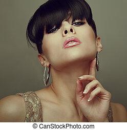 女, 型, 暑い, 毛, 唇, 黒, 肖像画, クローズアップ, セクシー, style.