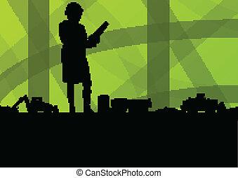 女, 堀る, 掘削機, サイト, イラスト, ローダー, トラクター, ベクトル, 背景, 産業, 建設, エンジニア