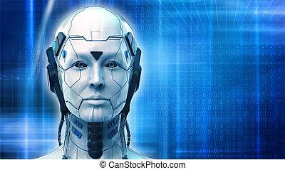 女, 壁紙, -, ロボット, レンダリング, 背景, 技術, 3d