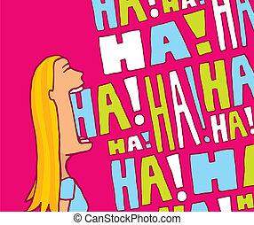 女, 大声で, 笑い, から