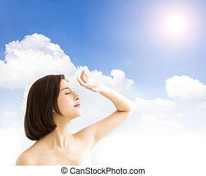 女, 太陽, uv, 若い, 日光, .skin, 概念, ブロック, 心配