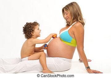 女, 妊娠した, 遊び, 息子