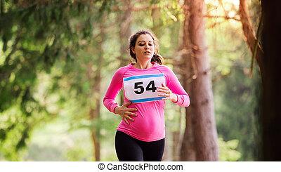 女, 妊娠した, nature., 競争, 動くこと, レース