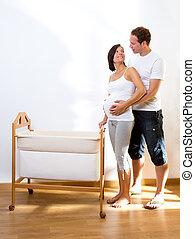 女, 妊娠している1対, 揺りかご, 赤ん坊, 抱擁
