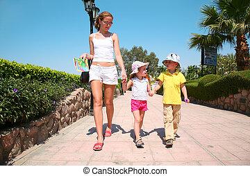 女, 子供, 歩くこと