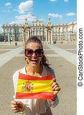女, 宮殿, 提示, 皇族, 旗, 前部, 微笑, スペイン