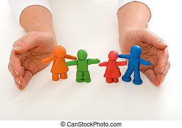 女, 家族, 人々, 手, 粘土, 保護