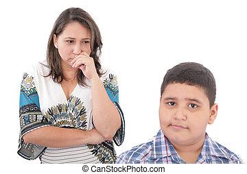 女, 家族, 彼女, 母, problems., 問題, フォーカス, son., ∥間に∥