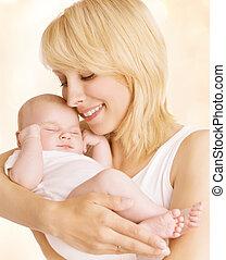 女, 家族, 新生, 生まれる, 抱擁, 肖像画, 母, 赤ん坊, 新しい子供