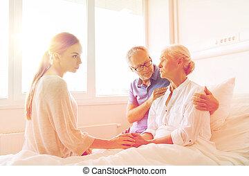女, 家族, 訪問, 病院, シニア, 病気
