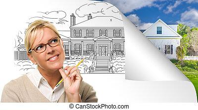 女, 家, ひっくり返る, 図画, 表面仕上げ, の後ろ, 写真のコーナー, ページ