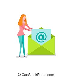 女, 封筒, ベクトル, newsletter, 電子メール, 開始