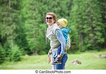 女, 届く, よちよち歩きの子, 彼女, 息子