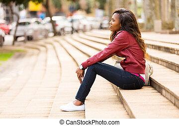 女, 屋外で, 若い, アフリカ, モデル