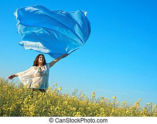 女, 屋外, 若い, 自由