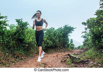 女, 山が多い, スポーティ, 仕事, 区域, 運動選手, uphill., 動くこと, 行く, 森林, 女性, フィットネス, 道, summer., から