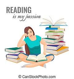 女, 山, ポスター, 本, 情熱, 読書, 私
