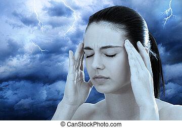女, 嵐である, イメージ, 瞑想する, に対して, 背景, 概念