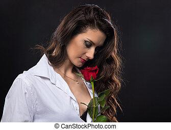 女, 巻き毛, バラ, ブルネット, 保有物, 赤
