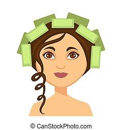 女, 巻き毛, 錠, 若い, 1(人・つ), 毛のローラー