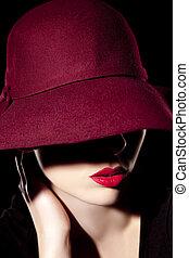 女, 帽子, 美しい