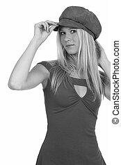 女, 帽子, 若い, かなり