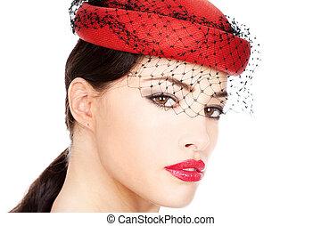 女, 帽子, 赤