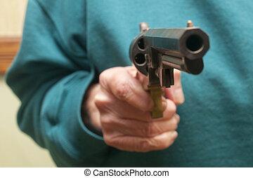 女, 年配, 保有物, 銃