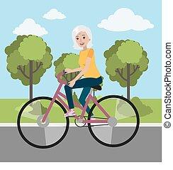 女, 年配, cycling.