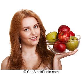 女, 幸せ, 若い, 隔離された, 微笑, アップル, 白