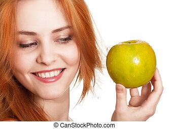 女, 幸せ, 若い, 隔離された, 微笑, 緑のリンゴ, 白