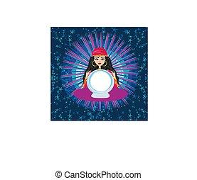女, 幸運, 魔法, ボール, 水晶, 未来, 読書, 金銭出納係