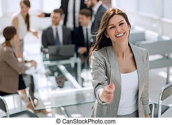 女, 彼女, オフィス, 勧誘, ビジネス, 微笑, あなた