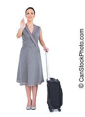 女, 彼女, スーツケース, 呼出し, 朗らかである, カメラ, 素晴らしい, から