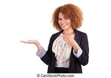 女, 彼女, ビジネス 人々, 隔離された, アフリカ, -, 若い, 手, アメリカ人, 黒, 何か, 背景, 保有物, 肖像画, やし, 白