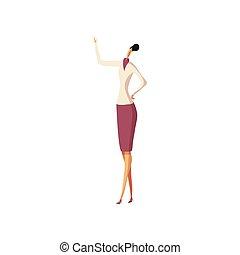 。, 女, 彼女, ビジネス, 手掛かり, 手, ベクトル, スカート, illustration.