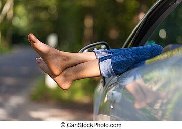 女, 彼女, 人々, 自動車, 取得, -, 若い, 残り, 黒, アフリカ, コンバーチブル, 運転手