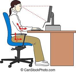 女, 彼女, 人間工学的, モデル, いつか, posture., 席, workplace., ベクトル, compter., ポジション, 使うこと, 正しい, illustration.