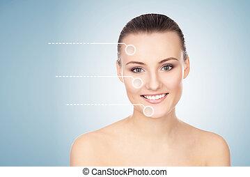 女, 彼女, 健康, face., 矢, 若い, プラスチック, エステ, 肖像画, 手術, concept.