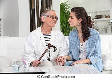 女, 彼女, 出費, 若い, 祖母, 時間