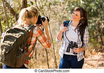 女, 彼女, 取得, 若い, 写真, 友人